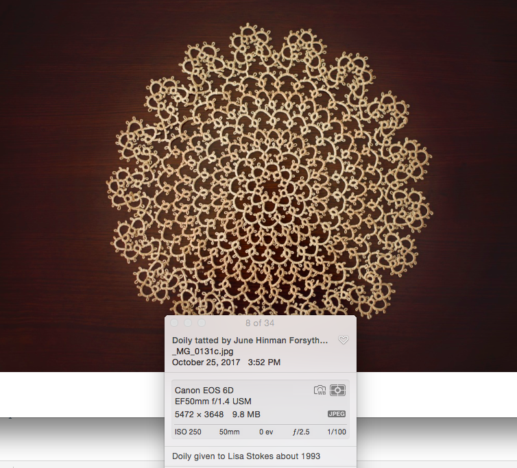 Doily with meta data